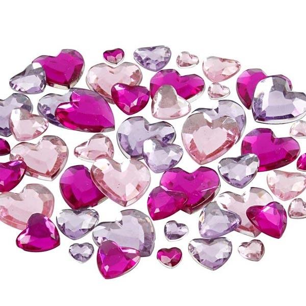 Strasssteine herzförmig, 252 Stück, Schmucksteine als Herzen, 6-14 mm