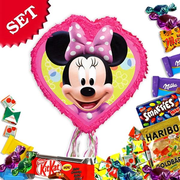 Minnie Maus Herz, Pinata-Set mit Süßem