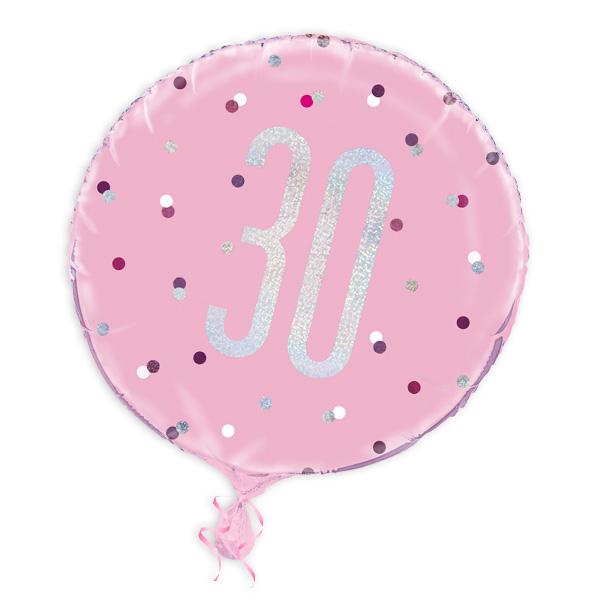 Folienballon rund +Zahl 30, pink, 35cm, für Helium