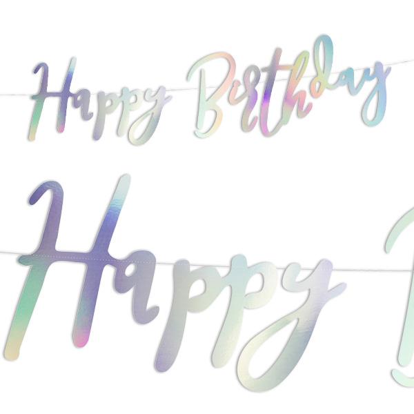 Happy Birthday Buchstabenbanner, irisierend, 2m
