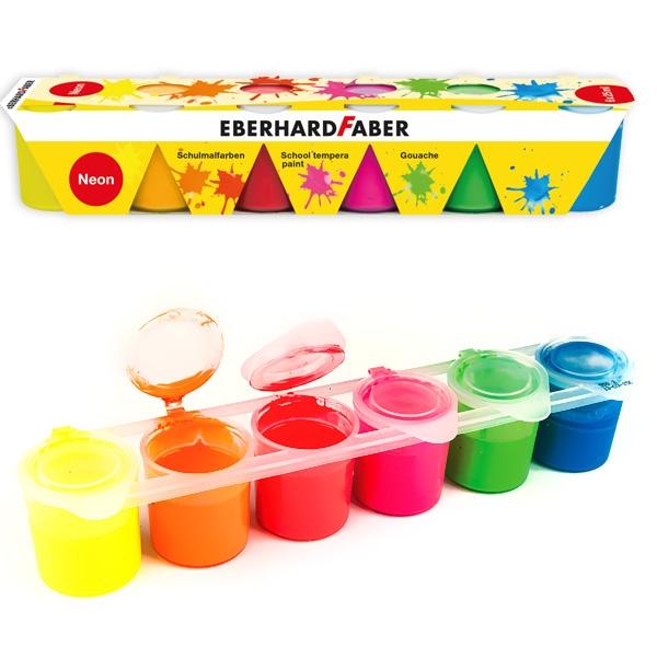 Neon Schulmalfarben von Faber in Premium Qualität, 6x25ml im Set