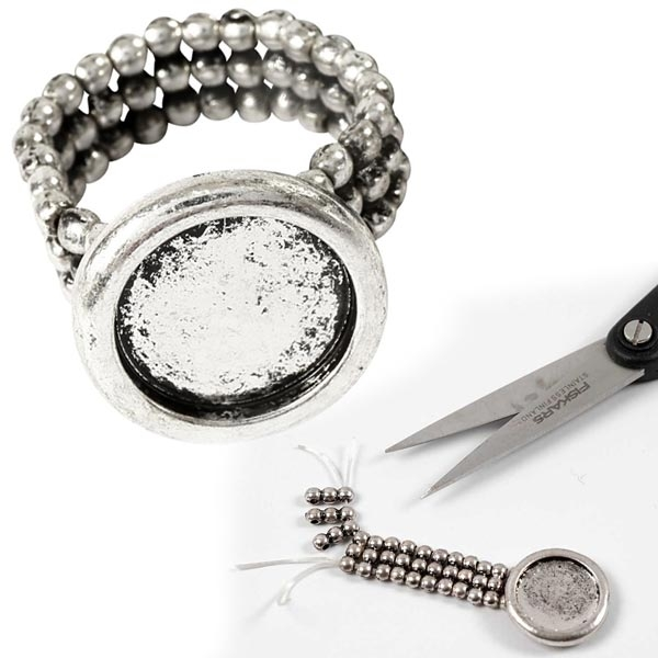 Cabochon Ring, Lochgröße 14mm, antiksilbern, Metall,für tollen Schmuck
