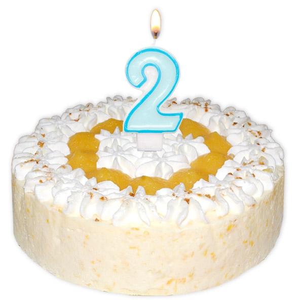 Zahlenkerze 2 in Hellblau als Torten-Deko 2. Geburtstag Jungen, 6 cm