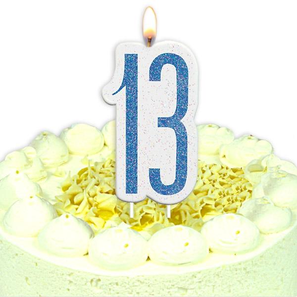 Geburtstagskerze mit Glückszahl 13, in glitzerndem Blau