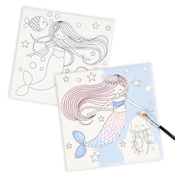 Keilrahmen mit Meerjungfrauen-Motiv, 2er Pack