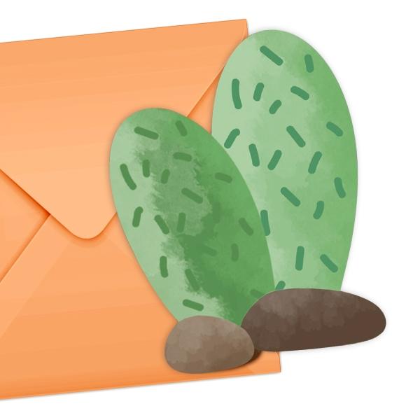 """""""Kaktus"""" Einladungskarten, 6er Pack mit Umschlägen"""