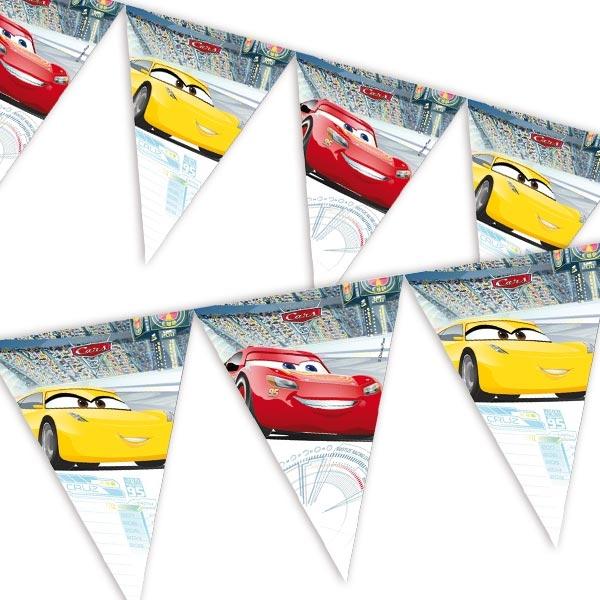 Cars 3 - Wimpelkette mit gelbem und rotem Rennwagen, 1 Stück, 2,3m