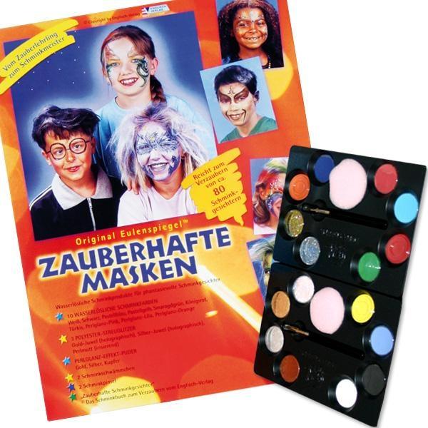 Tolle Faschingsmasken schminken, Profi-Schminkpalette 10 Farben, Anleitung, 3x Glitzerpulver, Perlglanz Effektpuder, Schmink Buch