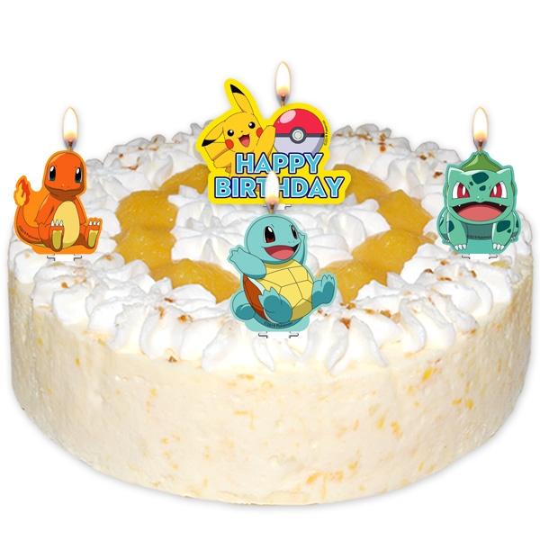 Pokemon Geburtstagskerzen im 4er Pack für Überraschungstorten Kinder