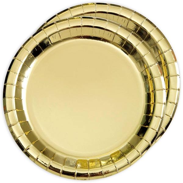 Metallic gold schimmernde Partyteller, 8 Stück, Pappe
