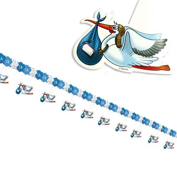 Girlande mit Klapperstorch blau, 4m, tolle Motivgirlande für Babyparty