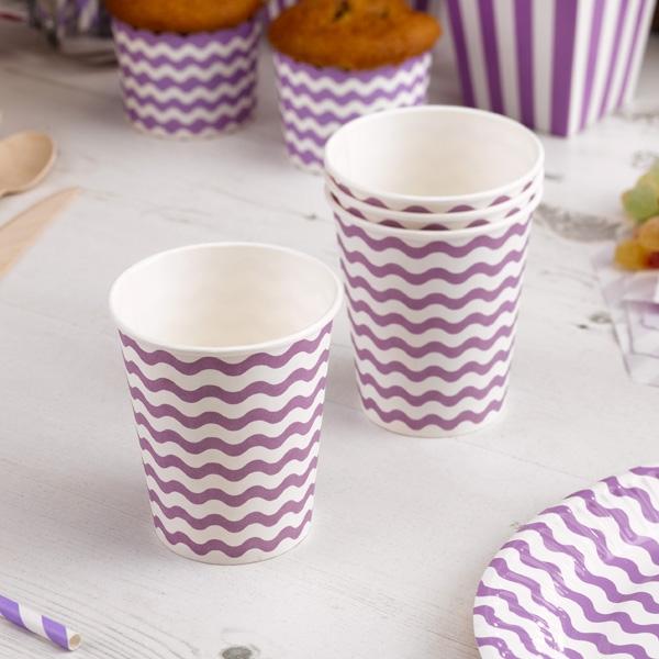 Partybecher mit lila Wellen, 8 Stück