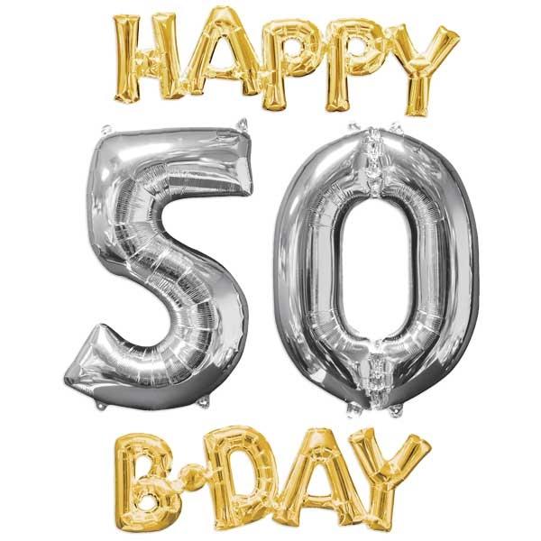 """""""HAPPY 50 B-DAY"""" XL Ballonset zum 50. Geburtstag gold-silber"""