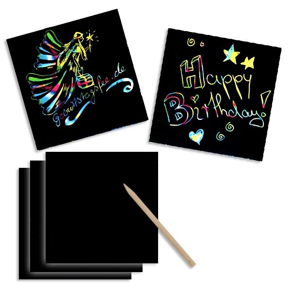 Kratzpapier Colourful, regenbogenfarben 24 Blatt + 1 Bambusstäbchen
