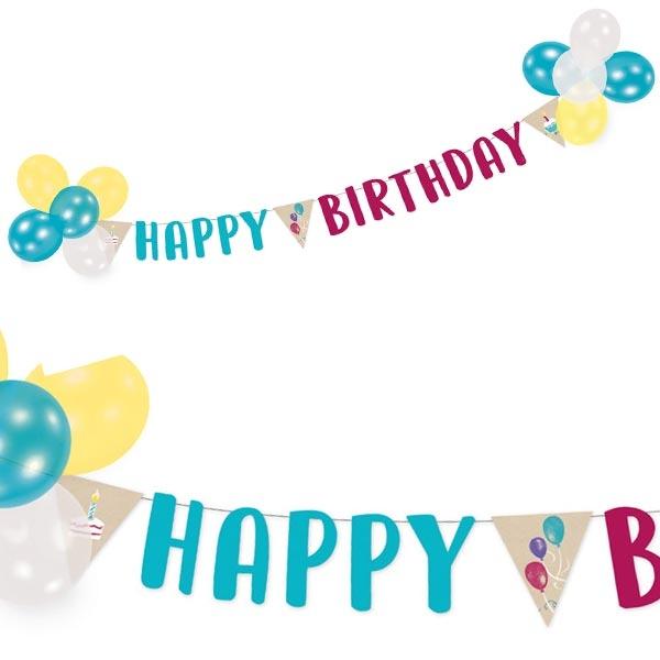"""My Happy Birthday"" Dekoset Ballons + Buchstabenkette"