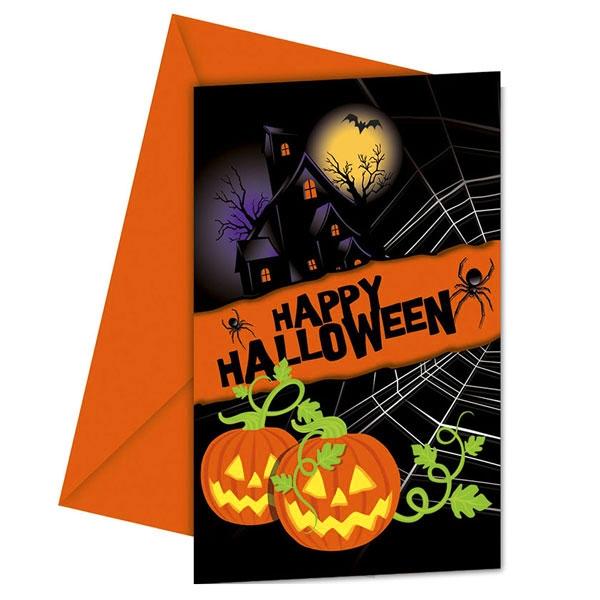 Halloween Einladungskarten im 6er Pck.,+orange Umschläge, 9 × 14 cm