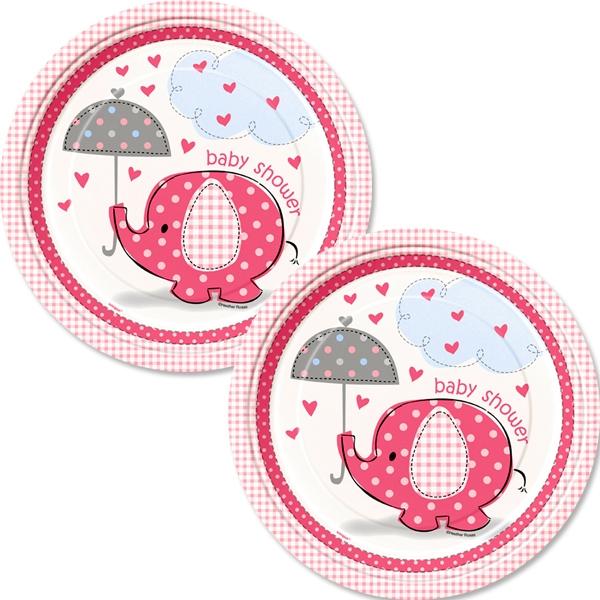 Babyparty Teller mit Elefant in Rosa zur Geburt von Mädchen, 8 Stk.