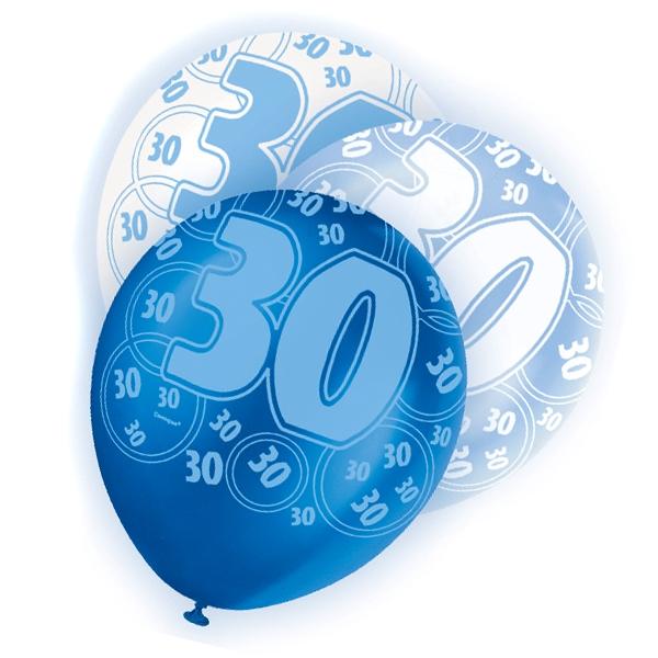 Latexballons mit Zahl 30 + Happy Birthday, blau/weiß, 30cm