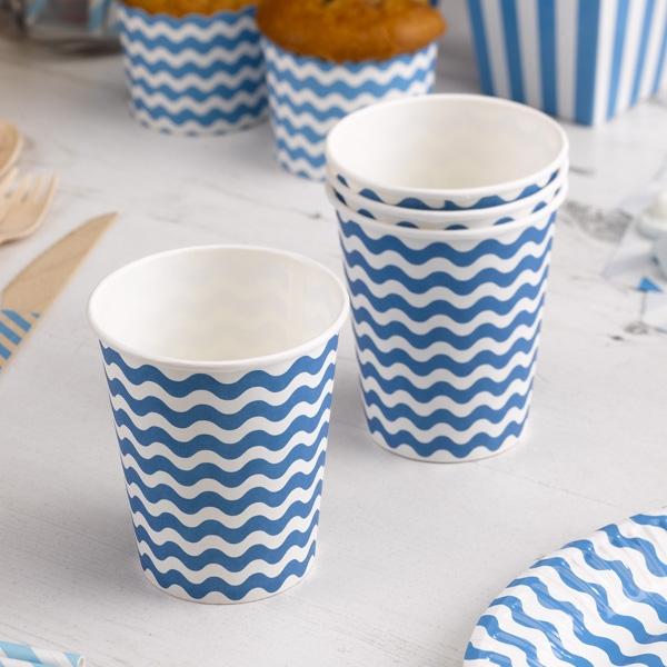 Partybecher mit blauen Wellen, 8 Stück