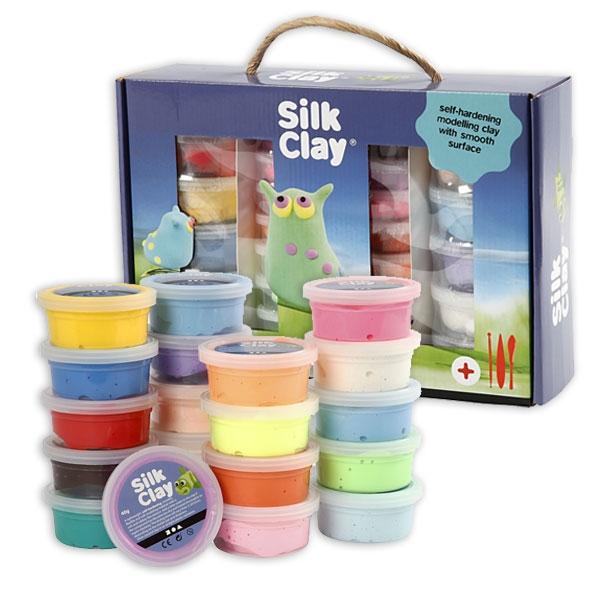 Silk Clay Set, 28 Dosen weiche Knete/Modelliermasse für Kinder