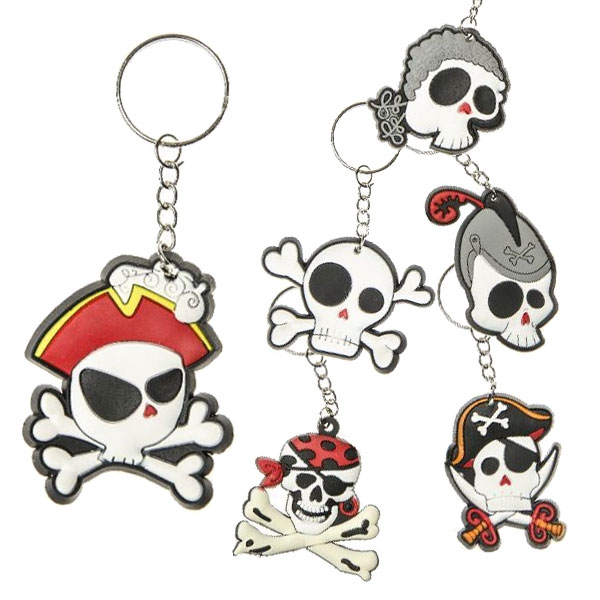 """Pirat"" Schlüsselanhänger, 1 Stück, verschiedene Totenkopf-Motive"