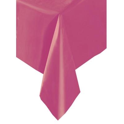 pinkfarbene Geburtstagstischdecke aus Folie, 137x274cm, einfarbig