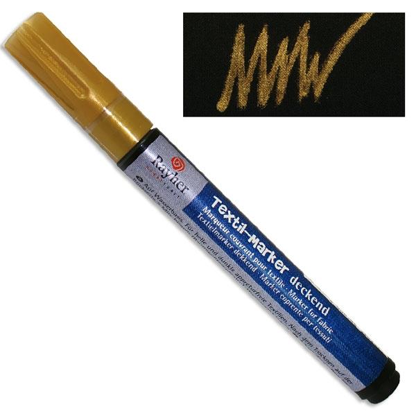 Textil-Marker deckend, gold, Rundspitze 2-4 mm, mit Ventil