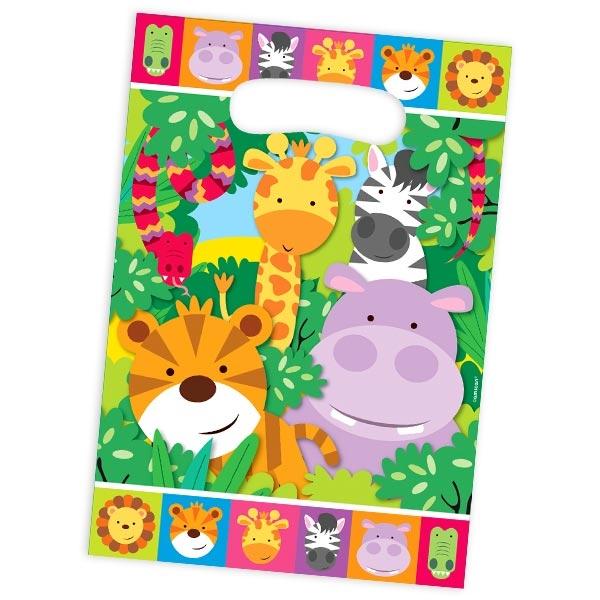 Geschenktüten Dschungeltiere 8er Pack, Zootiere Tütchen, Folie