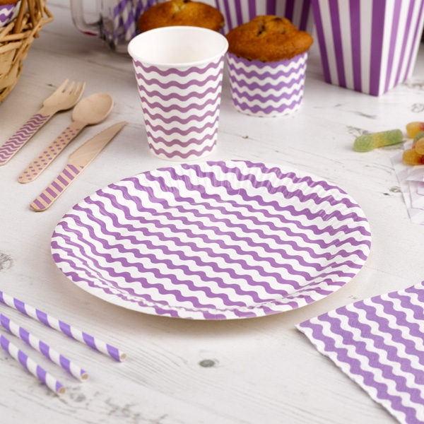 Teller mit lila Wellen, 8 Stück, 23cm