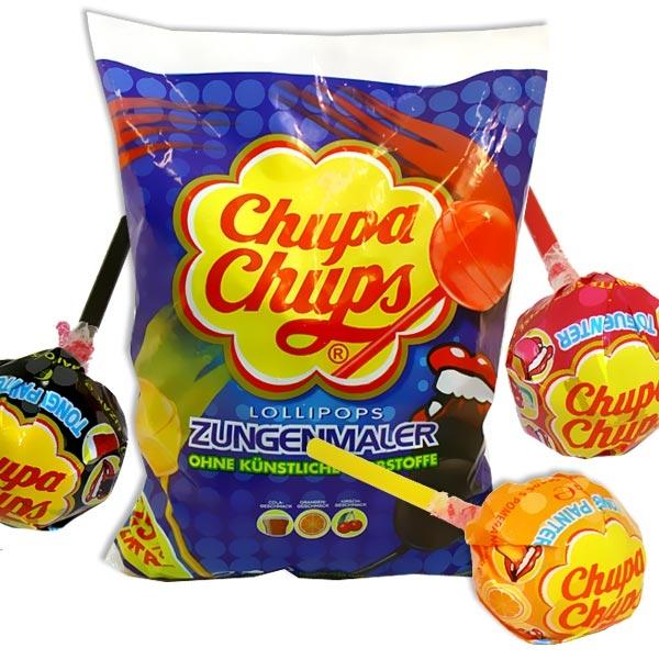 Großpack Chupa Chups, 3kg, 250 Lutscher, Zungenmaler, Cola, Orange, Kirsch