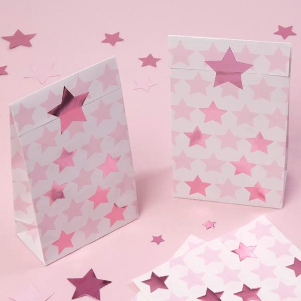 """Geschenktütchen """"Kleiner Stern"""" in rosa, 5er Pack"""