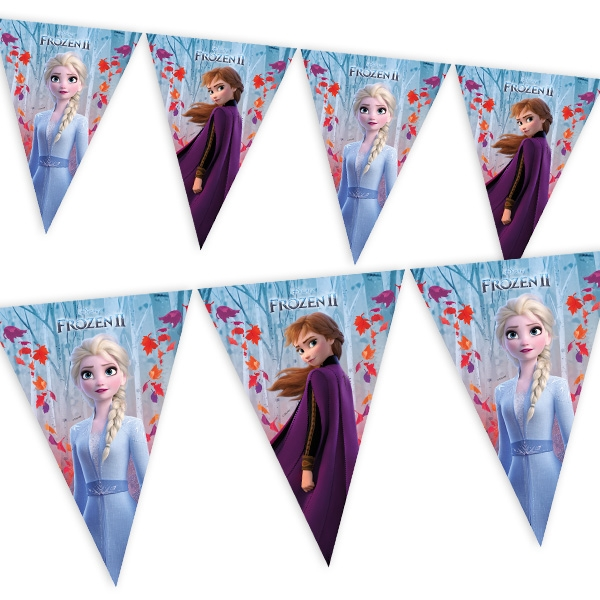 Frozen 2 - Wimpelkette, 1 Stk, mit Anna und Elsa, 2,3m