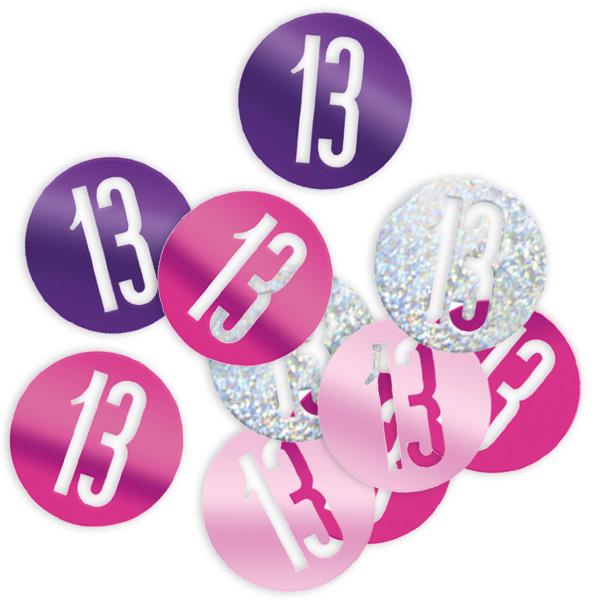 Happy Birthday - Glitzerkonfetti, Zahl 13, pink und silbern