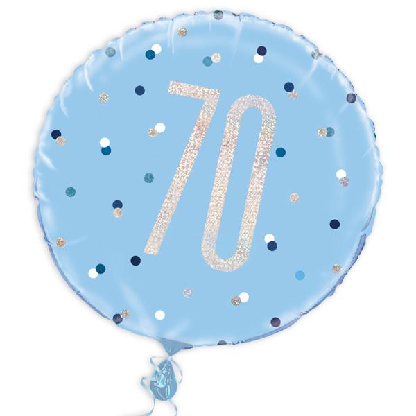 Folienballon rund mit 70, blau, 35cm, für Helium