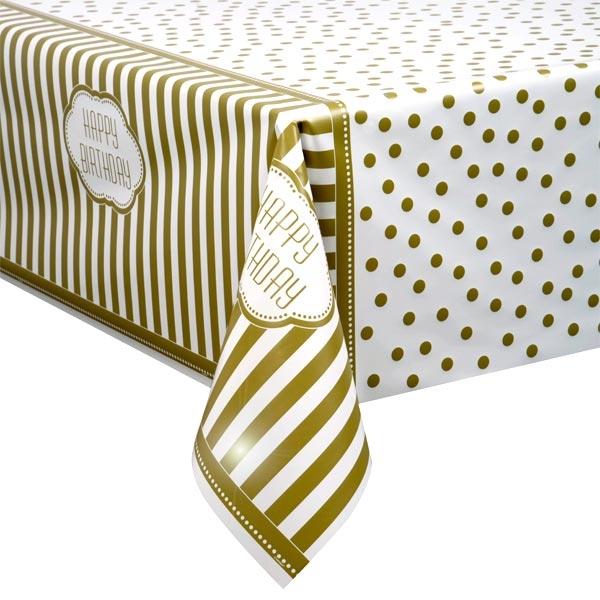 Tischdecke, Goldene Zeiten,137 x 213cm, Happy Birthday-Tischbekleidung