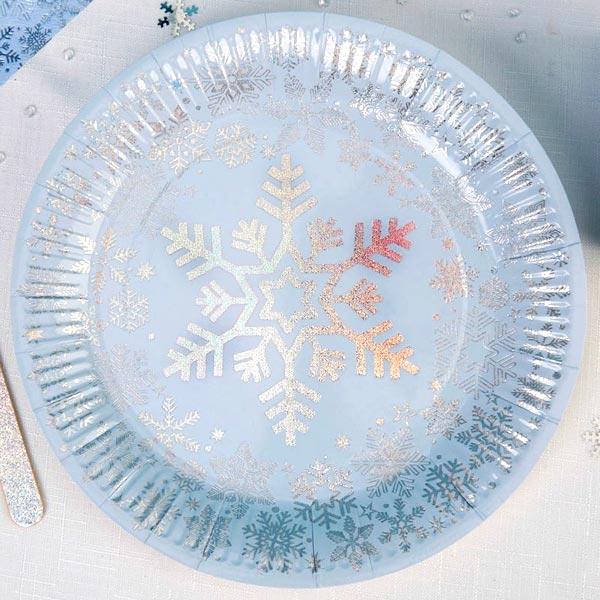 Winterteller mit glitzernden Schneeflocken, 8 Stk, 22,5cm