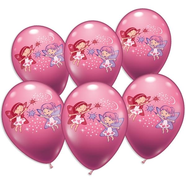 Kleine Feen, Luftballons im 6er Pack als süße Deko zur Feenparty, Latex