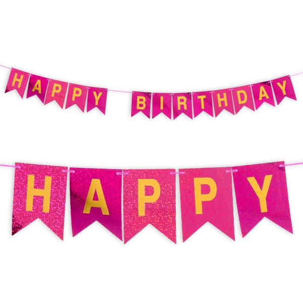 Happy Birthday-Wimpelkette in pink, holografisch glitzernd