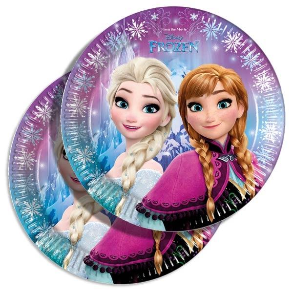 Eiskönigin Partyteller im 8er Pack mit Anna & Elsa aus Disney Frozen, 23cm