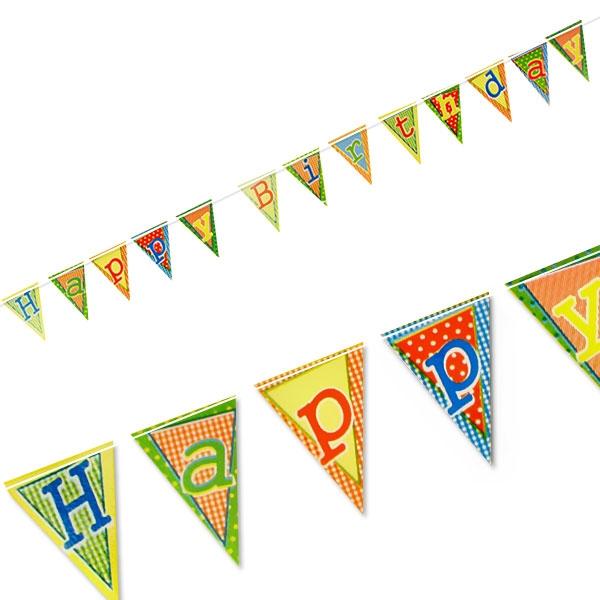 Wimpelkette Happy Birthday aus Pappe für drinnen, 4m, 1 Stück