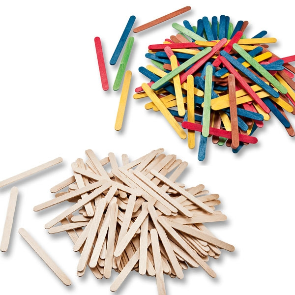 Holzstäbchen, 25x naturfarben und 25x bunt, insg. 50 Stück, 11,4cm, Stiele