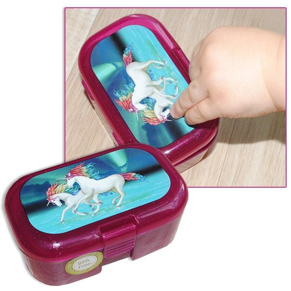 Einhorn Lunabelle Mini-Lunchbox, 10,5cm x 7cm, Glitzer-Frühstücksbox