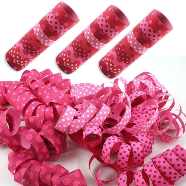 Luftschlangen pink gepunktet, 3 Rollen Papierschlangen mit wunderschönem Muster