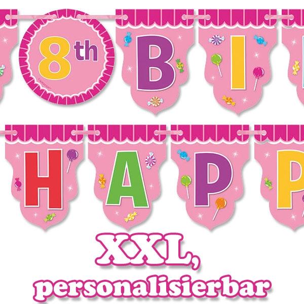 Candyshop Partykette XXL, Happy Birthday Deko, Süßigkeiten-Motiv, 3m