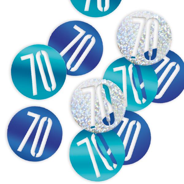Glitzerkonfetti Zahl 70 in blauen und silbernen Farben