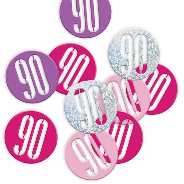 Happy Birthday Glitzerkonfetti, Zahl 90 pink-silbern