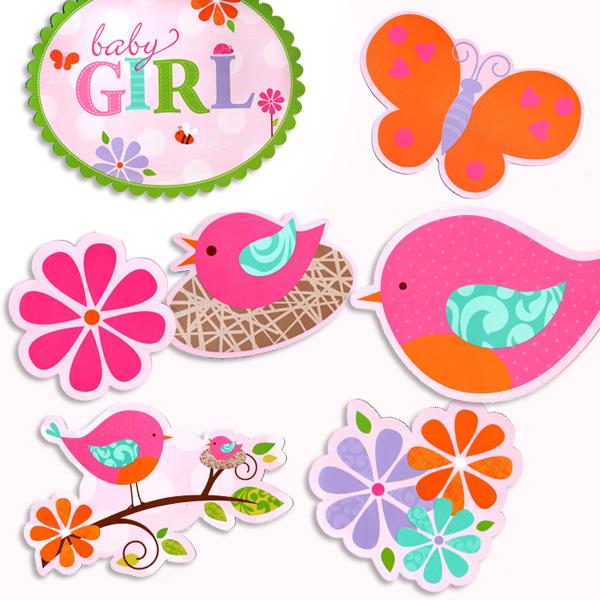 Baby in Pink Dekobilder, 12 äußerst süße Natursymbole, tolle Farben
