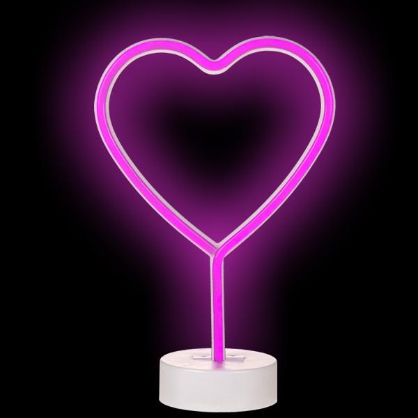 Neon-Leuchte Pinkes Herz, 1 Stück, 27 cm
