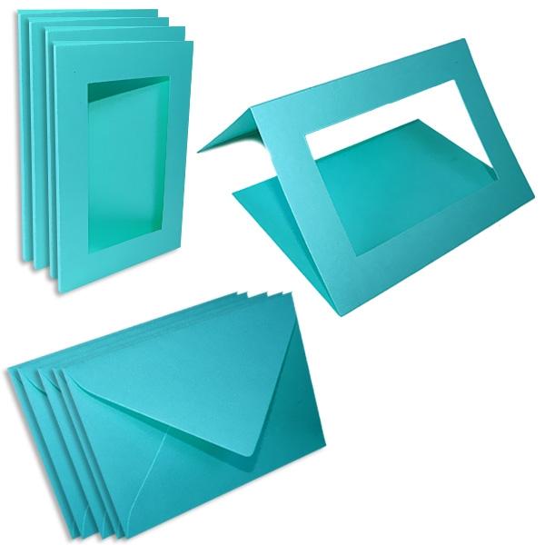 Passepartoutkarten himmelblau, 5 Stück, zum Grußkarten-Bsteln