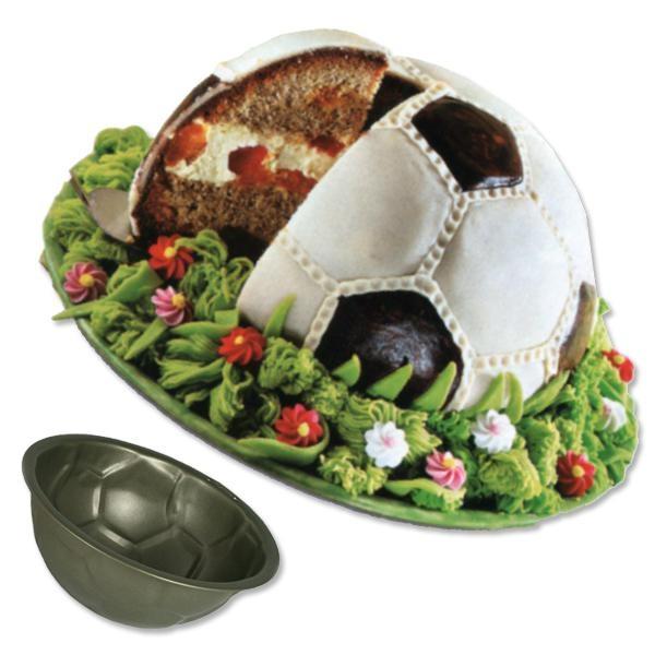 Kuchenform Fußball antihaft 22,5cm , Backform für Fußballkuchen, Metall